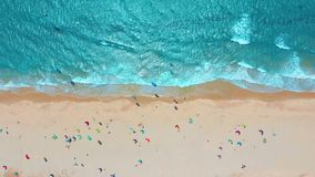 Aerial view. Tropical beach with turquoise ocean water and waves, aerial view.  stock video