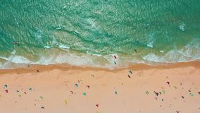Aerial view. Tropical beach with turquoise ocean water and waves, aerial view. Aerial view. Tropical beach with turquoise ocean water and waves, aerial view stock video
