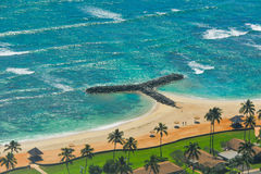 Aerial view of tropical beach and water Stock Photo