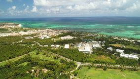 Aerial view of tropical Caribbean beach resort and golf course. Punta Cana.  stock footage