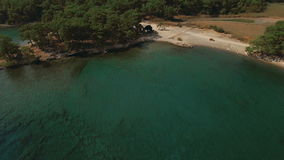 Aerial View of Tropical Coast with Forest and Bay stock video footage
