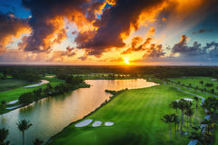 Aerial view of tropical golf course at sunset, Dominican Republi. C, Punta Cana Royalty Free Stock Photo
