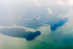 Aerial view of tropical green islands and sea bay Stock Image