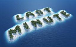 Last minute holiday islands. Aerial view of tropical holiday or vacation islands in shape of words last minute with blue sky background Royalty Free Stock Photography