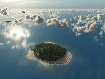 Aerial view of tropical island Royalty Free Stock Photography