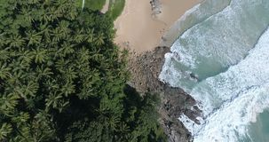 Aerial view of tropical island beach. Aerial drone view of beautiful tropical island  sandy beach and sea waves crashing coastline crocks during sunny summer day stock video footage