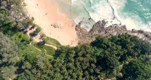 Aerial view of tropical island beach stock video