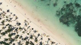 Aerial view tropical island beach Punta Cana, Dominican Republic.  stock video footage
