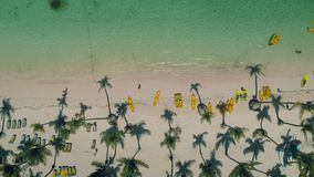 Aerial view tropical island beach Punta Cana, Dominican Republic stock video footage