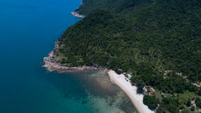 Aerial view of tropical island clear blue sea. Summer clear blue sea at Koh Phangan, Suratthani, Thailand Royalty Free Stock Photo