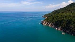 Aerial view of tropical island clear blue sea. Summer clear blue sea at Koh Phangan, Suratthani, Thailand Royalty Free Stock Photos