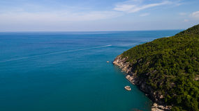 Aerial view of tropical island clear blue sea. Summer clear blue sea at Koh Phangan, Suratthani, Thailand Stock Photography