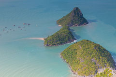 Aerial view of tropical island locate in south of Thailand Stock Photos