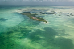 Aerial view tropical island mangroves and sand stock photo