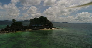 Aerial view of the tropical island and sea. Aerial view of tropical island Koh Khai Nai and sea stock footage