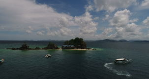 Aerial view of the tropical island and sea. Aerial view of tropical island Koh Khai Nai and sea stock video footage
