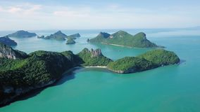 Aerial view of tropical islands at Angthong National Marine Park in Thailand. Shot with DJI Mavic fps 23,98 4k stock video footage