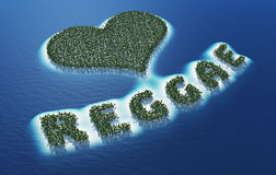 Abstract love reggae sign. Aerial view of tropical islands in shape of love heart and word reggae, musical concept on blue sea Stock Photos