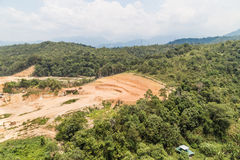 Aerial view of tropical jungle clearing for development Royalty Free Stock Photo