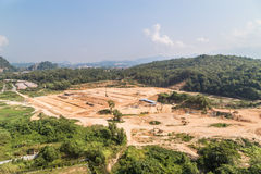 Aerial view of tropical jungle clearing for development Stock Image