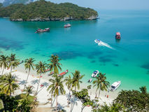 Aerial view of the tropical lagoon, Angthong Marine Park, Thailand Royalty Free Stock Photos