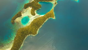 Aerial view tropical lagoon,sea, beach.Bucas Grande Island, Sohoton Cove. Philippines. stock video footage
