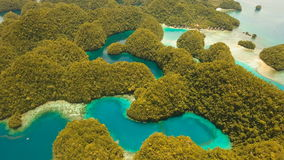 Aerial view tropical lagoon,sea, beach. Bucas Grande Island, Sohoton Cove. Philippines. stock video footage