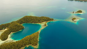 Aerial view tropical lagoon,sea, beach. Bucas Grande Island, Sohoton Cove. Philippines. stock footage