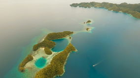 Aerial view tropical lagoon,sea, beach.Bucas Grande Island, Sohoton Cove. Philippines. stock footage