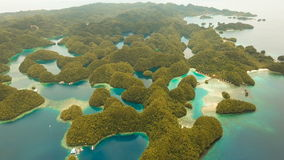 Aerial view tropical lagoon,sea, beach.Bucas Grande Island, Sohoton Cove. Philippines. stock video footage