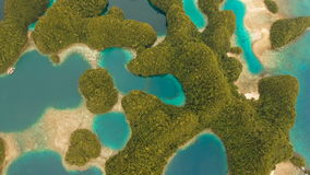 Aerial view tropical lagoon,sea, beach.Bucas Grande Island, Sohoton Cove. Philippines. stock video