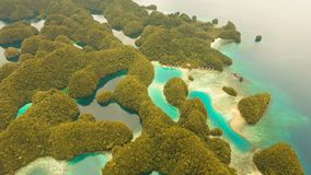Aerial view tropical lagoon,sea, beach.Bucas Grande Island, Sohoton Cove. Philippines. Aerial view: Bucas Grande Island, Sohoton Cove. Philippines. Tropical sea stock footage