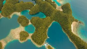 Aerial view tropical lagoon,sea, beach.Bucas Grande Island, Sohoton Cove. Philippines. Aerial view: Bucas Grande Island, Sohoton Cove. Philippines. Tropical sea stock video