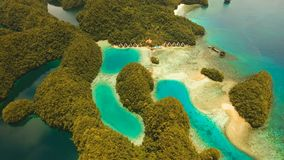 Aerial view tropical lagoon,sea, beach. Bucas Grande Island, Sohoton Cove. Philippines. stock video footage