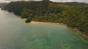 Aerial view tropical lagoon,sea, beach. Tropical island. Catanduanes, Philippines. Aerial view: beach, tropical island, bay and lagoon. Tropical landscape sky stock video