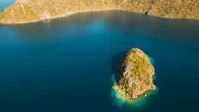 Aerial view tropical lagoon,sea, beach. Tropical island. Busuanga, Palawan, Philippines. stock footage