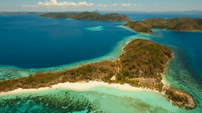Aerial view tropical lagoon,sea, beach. Tropical island. Busuanga, Palawan, Philippines. stock video footage