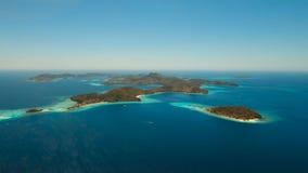Aerial view tropical lagoon,sea, beach. Tropical island. Busuanga, Palawan, Philippines. stock video
