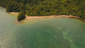 Aerial view tropical lagoon,sea, beach. Tropical island. Catanduanes, Philippines. Aerial view: beach, tropical island, bay and lagoon. Tropical landscape stock footage