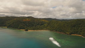 Aerial view tropical lagoon,sea, beach. Tropical island. Catanduanes, Philippines. stock footage