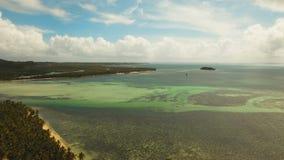 Aerial view tropical lagoon,sea, beach. Tropical island. Siargao, Philippines. Aerial view: beach, tropical island, sea bay and lagoon, Siargao. Tropical stock video