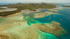 Aerial view tropical lagoon,sea, beach. Tropical island. Siargao, Philippines. stock footage