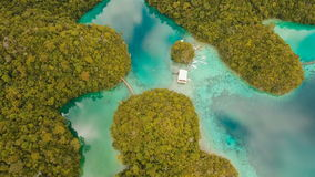 Aerial view tropical lagoon,sea, beach. Tropical island. Siargao, Philippines. stock video