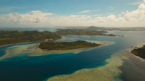 Aerial view tropical lagoon,sea, beach. Tropical island. Siargao, Philippines. stock video
