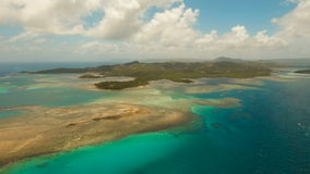 Aerial view tropical lagoon,sea, beach. Tropical island. Siargao, Philippines. stock video footage