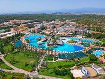 Aerial view of the tropical resort Pegasos World in Side, Turkey. Side, Turkey - June 9, 2018: Aerial view of the tropical resort Pegasos World in Side, Turkey royalty free stock image