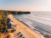 Aerial view of tropical sandy beach with ocean. stock photography