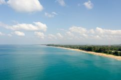 Aerial view of the tropical sandy sea coast Royalty Free Stock Photos