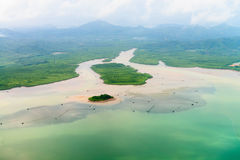 Aerial view of the tropical shore Royalty Free Stock Photography