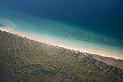 Aerial View of tropical shoreline. Beautiful aerial view of moreton island shoreline in Queensland, Australia Royalty Free Stock Images
